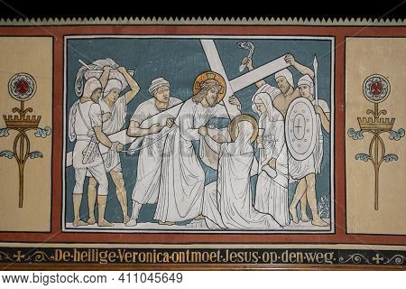 Afferden, Netherlands, May 20, 2021: Religious Mural In The Church Of The Village