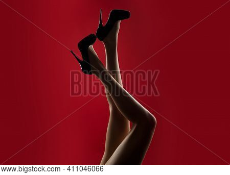 Mistress Sexy Woman. Fashion Feet. Seductive Girl Foot Legs
