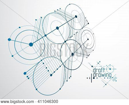 Technical Plan, Abstract Engineering Draft For Use In Graphic And Web Design. Vector Drawing Of Indu