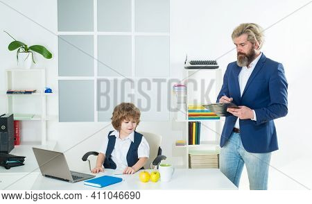 Marketing Team Meeting Brainstorming Research. Cute Kid Sitting In Office Chair Self Confident Like