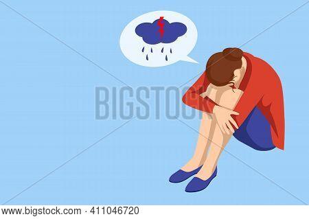 Isometric Depressed Women. Psychology, Health, Care, Depression, Frustration, Medicine Concept. Psyh