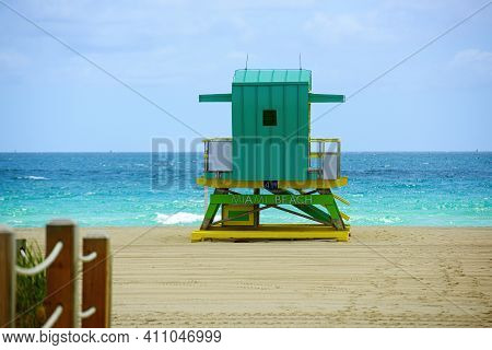 Lifeguard Tower In Miami Beach. Sunny Day In Miami Beach