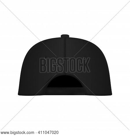 Design Template, Vector Realistic White Baseball Cap Back View Isolated On Background. Realistic Bac