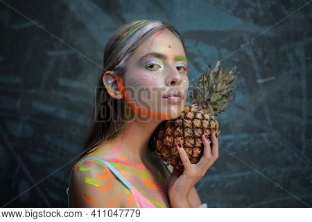 Fashion Summer Makeup. Abstract Summer Makeup. Pineapple Fruit. Fashion Girl With Colorful Powder Ma
