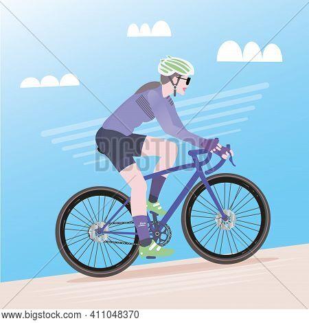Cyclist Woman On Road Bike - Vector Illustration
