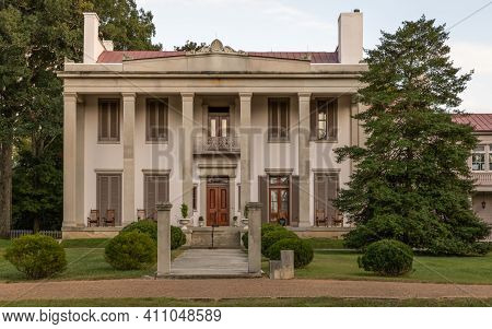 Nashville, Tennessee; Usa; Sept. 27, 2020. A Close Up View Of The Iconic Belle Meade Mansion. This P