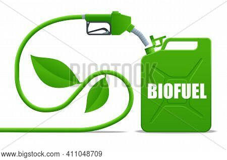 Biofuel Barrels With Biofuel. Gas Pump Nozzle And Green Jerrycan. Green Energy. Save The Earth, Ecol