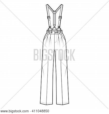 Suspender Pants Dungarees Technical Fashion Illustration With Full Length, Normal Waist, High Rise,