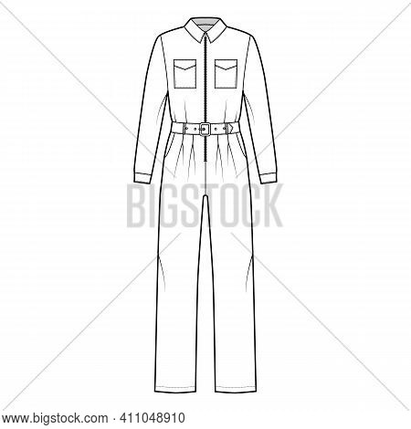 Siren Suit Overall Jumpsuit Technical Fashion Illustration With Full Length, Belt, Zipper Closure, N