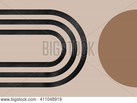 Modern Neutral Background. Minimalist Neutral Pattern. Minimalistic Shapes In Mid-century Modern Sty