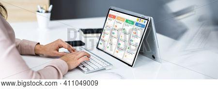 Kanban Project Schedule Management Software App On Laptop