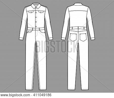 Denim Overall Jumpsuit Dungaree Technical Fashion Illustration With Full Length, Button Closure, Lon