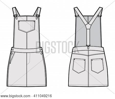 Dungaree Dress Denim Overall Jumpsuit Technical Fashion Illustration With Mini Length, Normal Waist,