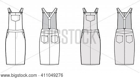Dungaree Dress Denim Overall Jumpsuit Technical Fashion Illustration With Knee Length, High Rise, Po