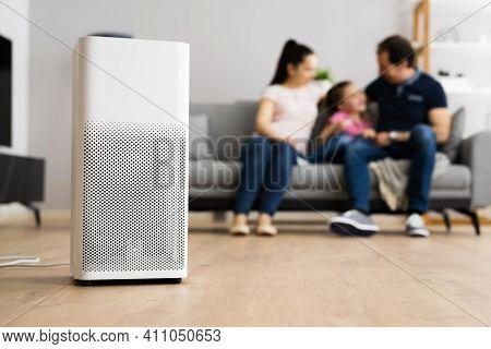 Air Purifier Modern Health Technology In Living Room