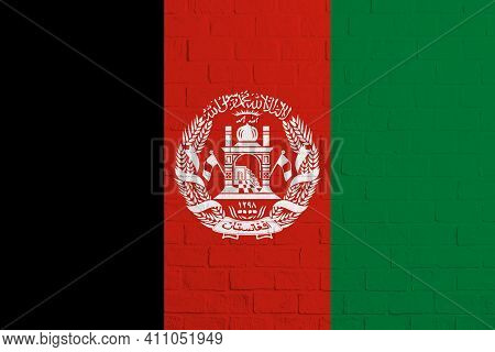 Flag Of Afghanistan. Brick Wall Texture Of The Flag Of Afghanistan.
