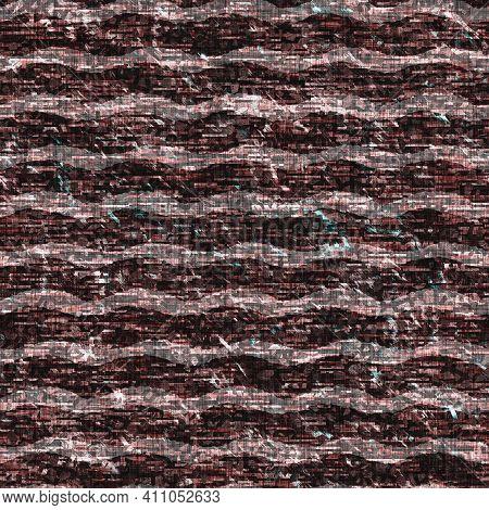 Mottled Grunge Blotch Wavy Stripe Pattern Background. Worn Aqua Blue Red Rustic Nautical Repeat Swat