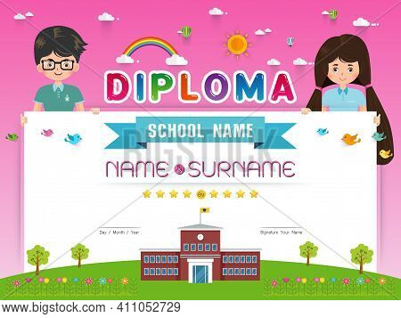 Certificate Kids Diploma, Kindergarten Template Layout Background Frame Design Vector Illustration.