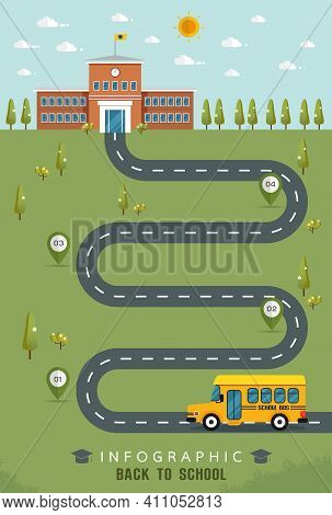 Education Infographic Flat Design, School Bus On Their Way To School, Fresh Green Field With Road
