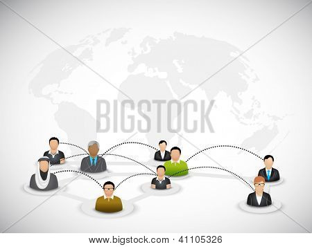 Business peoples on abstract world map background. EPS 10.
