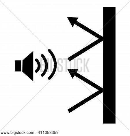 Soundproof Icon On White Background. Sound Insulation Sign. Noise Absorbing Symbol. Hotel Room Sound