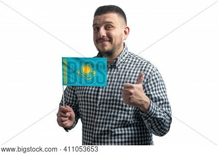 White Guy Holding A Flag Of Kazakhstan And Shows The Class By Hand Isolated On A White Background. L