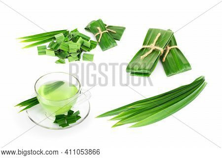 Set Of Fresh Green Pandan Leaves With Slice Isolated On White Background