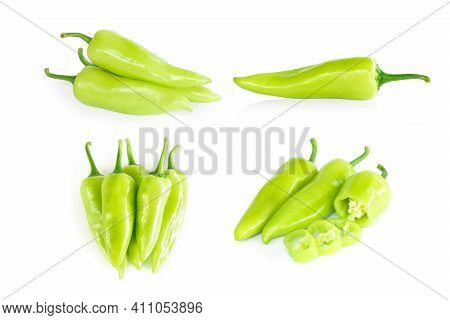 Set Of Green Chilli Pepper With Sliced On White Background, Raw Food Ingredient Concept