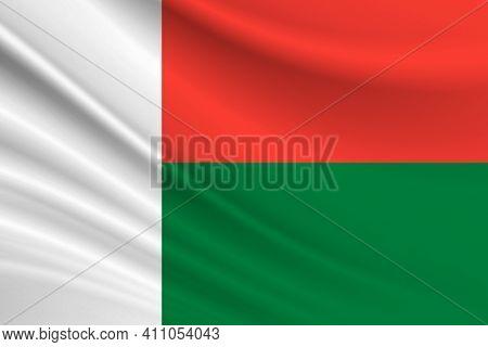Flag Of Madagascar. Fabric Texture Of The Flag Of Madagascar.