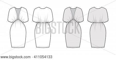 Kaftan Dress Technical Fashion Illustration With Deep V-neck, Batwing Sleeves, Oversized, Knee Lengt