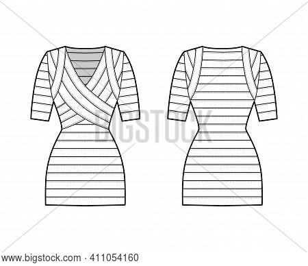Bandage Dress Technical Fashion Illustration With V-neck, Short Sleeves, Fitted Body, Elasticated, M