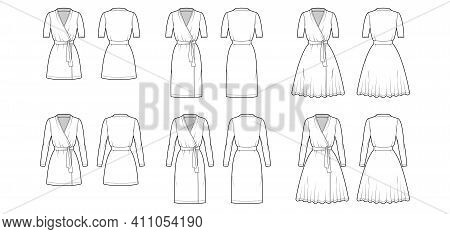Set Of Wrap Dresses Technical Fashion Illustration With Deep V-neck, Short Long Sleeves, Oversized,