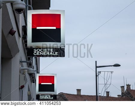 Novi Sad, Serbia - March 11, 2017: Logo Of Societe Generale On One Of Their Branches (also Called So