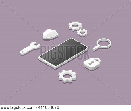 Smartphone Antivirus Concept.  Protection Security System. Isometric Colored Vector Illustration.