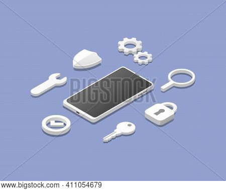 Smartphone Antivirus Defender Concept.  Protection Security System. Isometric Colored Vector Illustr