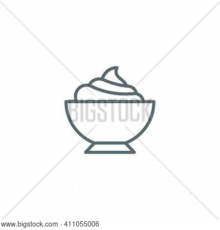 Sour Cream Bowl Icon, Color, Line, Outline Vector Sign, Linear Style Pictogram Isolated On White. Sy
