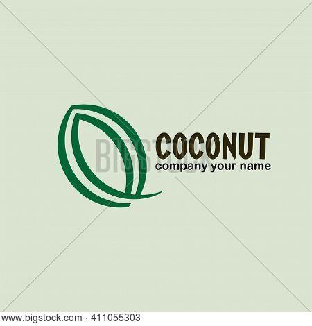Illustration Coconut Logo Design Vector. Coconut Icon Vector