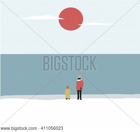 Woman With Her Son On The Beach And Looks At The Sea In Winter Season. The Boy Is Resting With His M