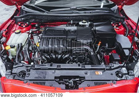 Novosibirsk, Russia - March 03 2021: Mazda 3, Car Engine Close-up. Internal Combustion Engine, Car P