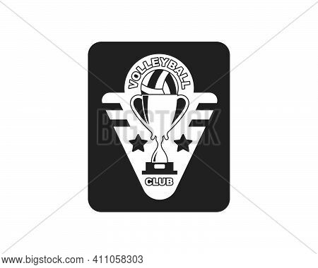 Volley Ball Club Logo And Badge Vector Icon Illustration