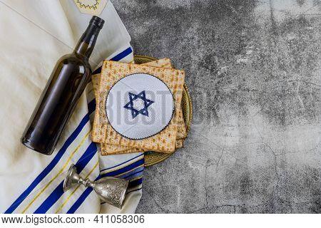 Orthodox Jewish Prepared With Cup Wine Kosher Matzah On Traditional Jewish Passover Holiday