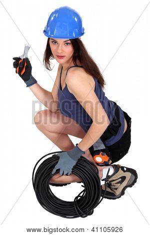 Portrait of a sexy tradeswoman