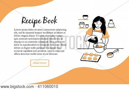 Banner Template With Hand Drawn Young Woman Cooking In The Kitchen. Cartoon Smiling Character With A