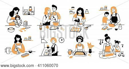 Hand Drawn Set Of Cooking People Character. Smiling Young Woman, Mom With Child, Couple Cook Togethe