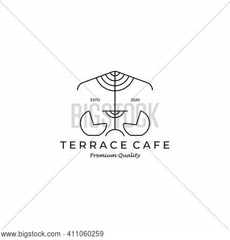 Terrace Cafe Outdoor Logo Vector Illustration Design Line Art Icon