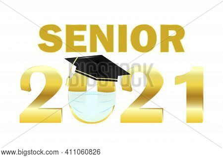 Icon With Graduate 2021 Mask For Healthcare Design. Coronavirus Face Protection Symbol. Stock Image.