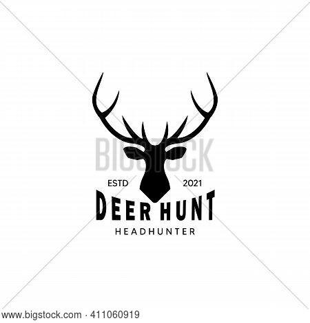 Head Deer Hunter Wildlife Logo Vector Illustration Design Vintage Icon