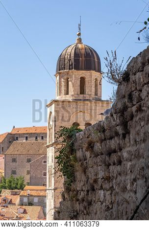 Cupola Tower View In Old Town Dubrovnik In Croatia Summer Morning