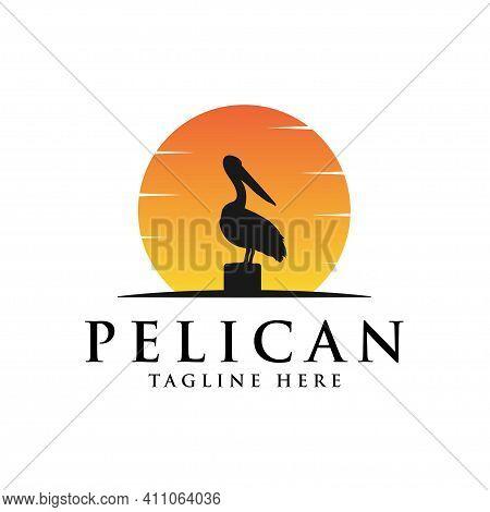 Pelican Bird Logo Vintage With Sun Background Vector Illustration Design