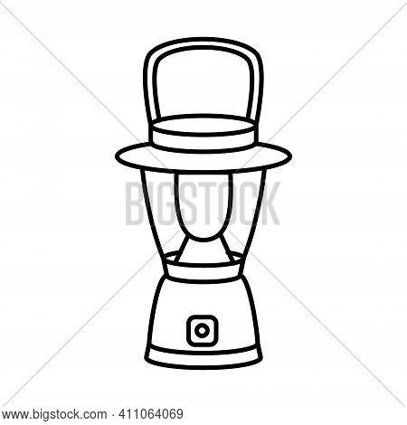 Flashlight Tourist Icon. Portable Flashlight.camping And Hiking Equipment.vector Illustration
